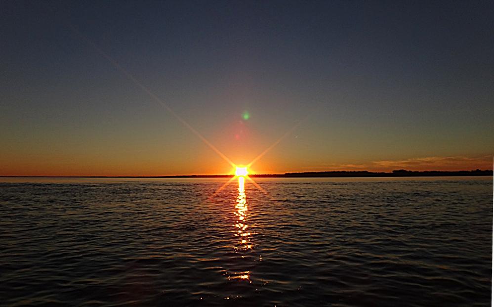 On a terminé notre pêche après le soleil